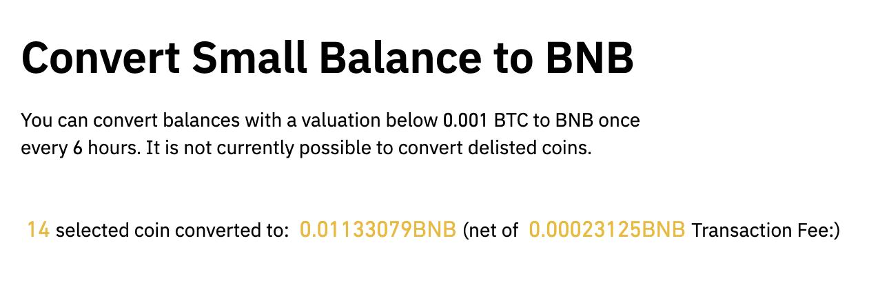 Crypto dust conversion binance